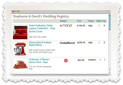 Target Wedding Registry List
